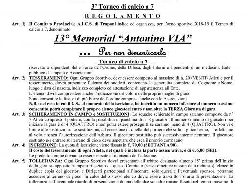 Regolamento 13° Memorial A. Via 2019