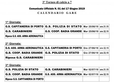 Calendario Memorial Nino VIA 2019
