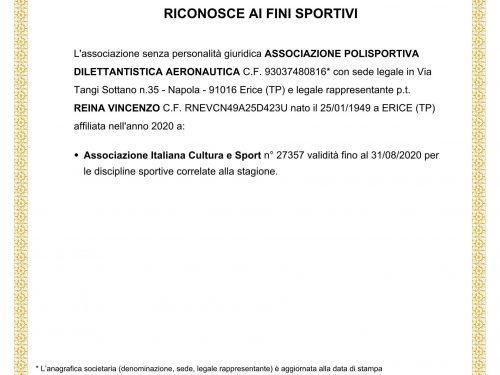 Registro CONI 2020 APD Aeronautica